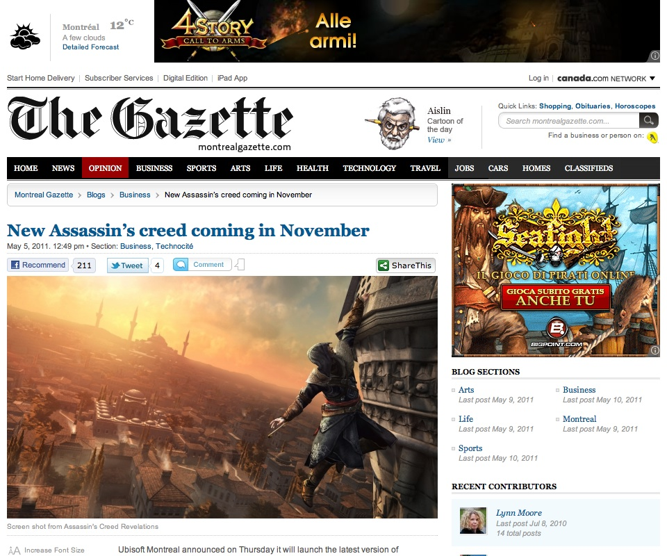 Montreal Gazette on WordPress