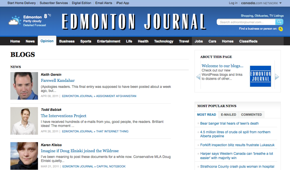 Edmonton Journal Blogs on WordPress
