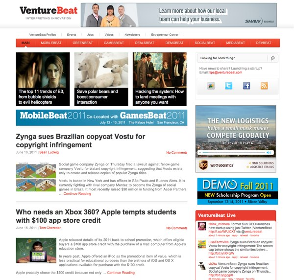 Screenshot of VentureBeat.com Home page