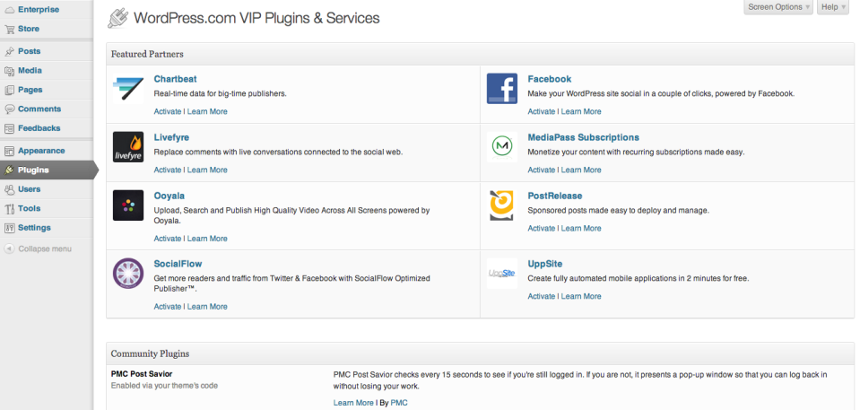 WordPress.com Enterprise Plugins and Services
