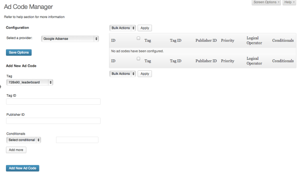 Google AdSense configuration