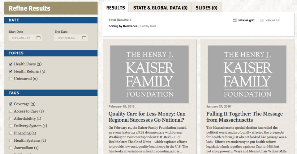 Kaiser Family Foundation VIP Search - grid results