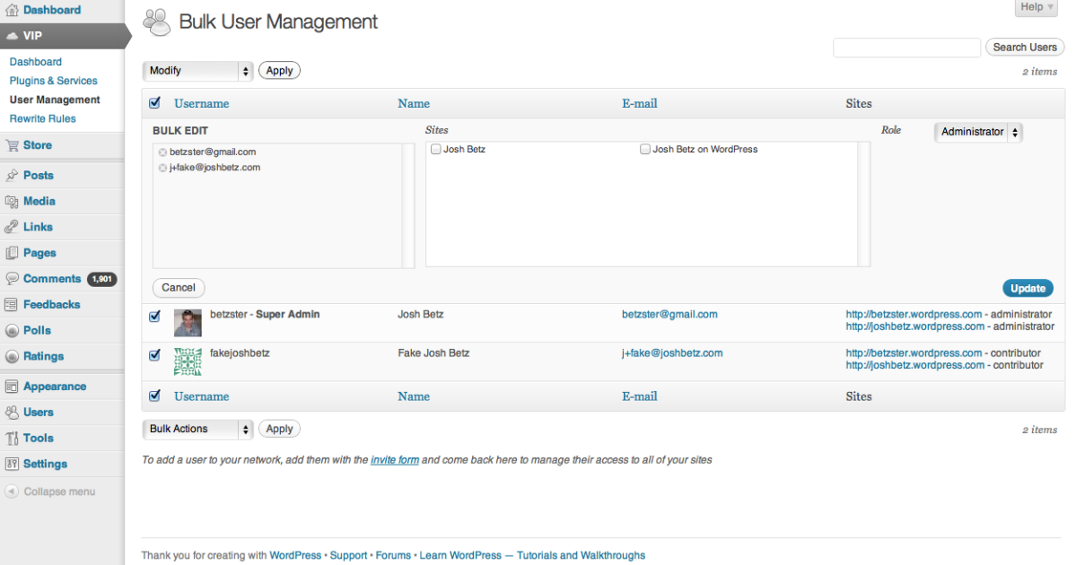 3. Select the bulk action that you want to perform