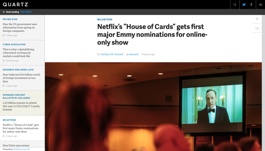 "Netflix's ""House of Cards"" gets first major Emmy nominations for online-only show - Quartz"