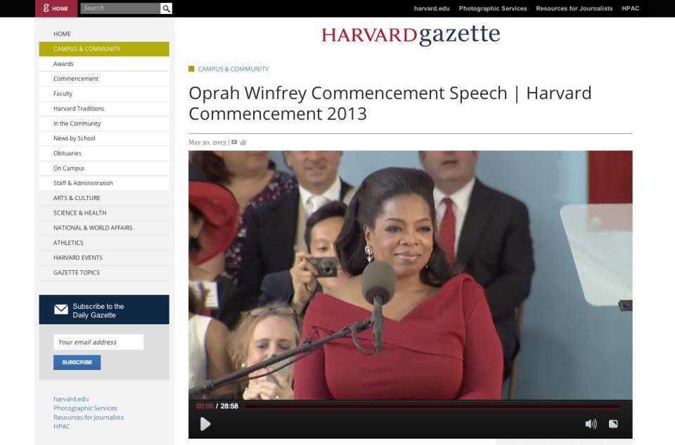Oprah Winfrey Commencement Speech | Harvard Commencement 2013 | Harvard Gazette