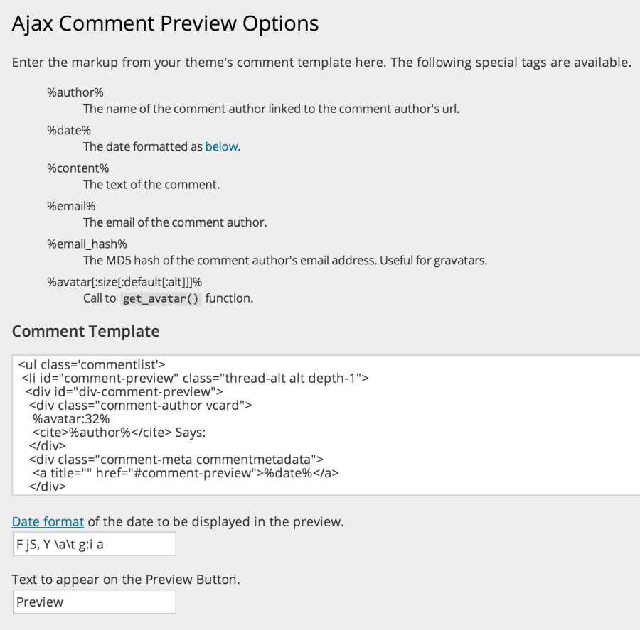 Preview Options