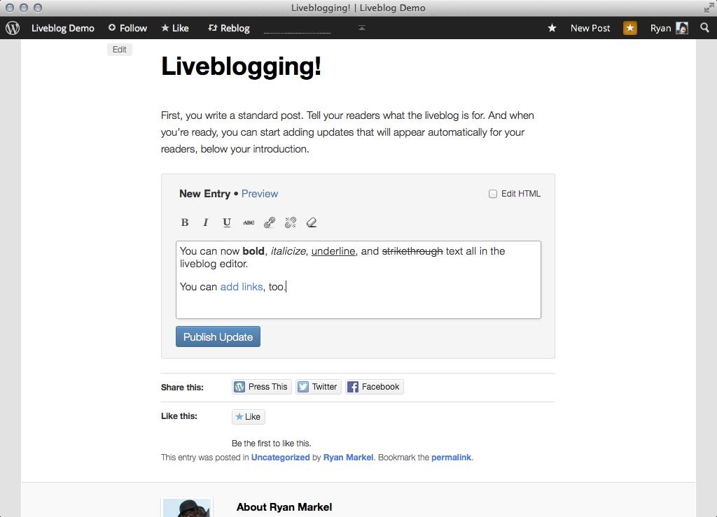 Liveblog RT Editor
