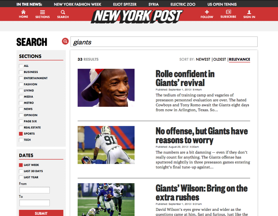 NY Post Search