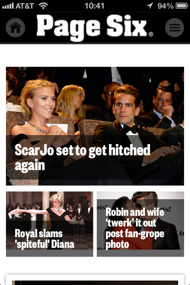 Page Six mobile view