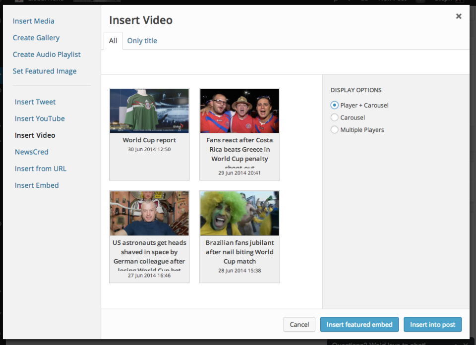 The custom tool that the GlobalNews.ca team built also lets editors create video players and carousels on the fly.