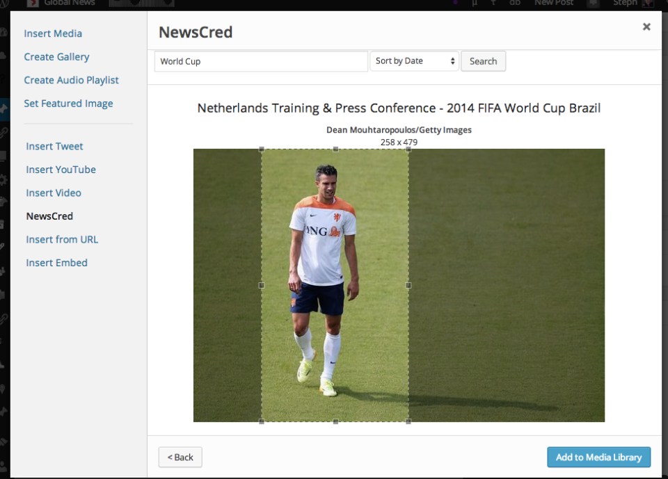 The custom tool also allows editors to quickly crop images before inserting them into the post.