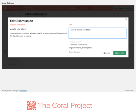 Coral Project submission editor