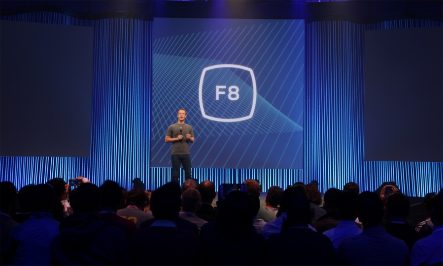 Facebook CEO Mark Zuckerberg on stage at F8